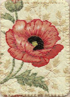 Poppy fabric postcard.
