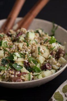 Cucumber, Feta + Sorghum Salad with Kalamata Olives