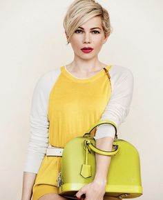 Le Fashion Blog Michelle Williams Louis Vuitton SS 2014 Campaign Short Blonde Hair Haircut Beauty Pink Lipstick Off White Yellow Colorblock ...