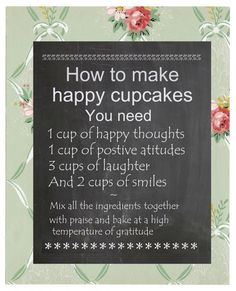 chalk board cupcake recipe for happiness by shabbyChicClassics, £3.50