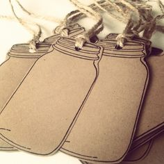 20 Blank Mason Jar Tags 65lb Kraft Brown Cardstock Country Gift Tags Rustic Mason Jar Gift Tags Mason Jar Gift Tag With Twine Embellishment. $7.00, via Etsy.