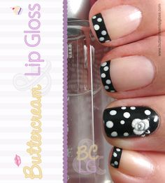 I could do without the rose. But besides that...cute!! Black & White Polka Dot Manicure #nails #nailart