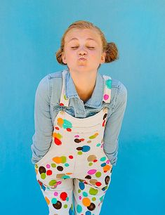 Just try not to smile when you're wearing hand-painted polka-dot overalls! #DIY