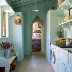 blue, color, mud rooms, laundry area, hous, dream laundry rooms, laundri room, cottage style, open shelving