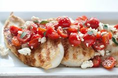 Grilled Lemon Chicken with Tomato and Feta Salad