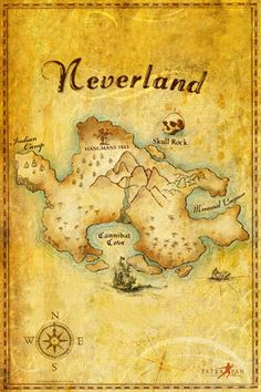A Neverland map--One day I will have a boy, and if his room isn't in Harry Potter, it will be in Peter Pan and this will be hanging on his wall :)