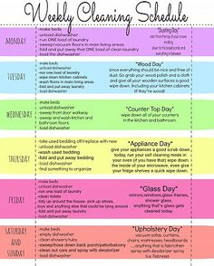 Good basic cleaning schedule