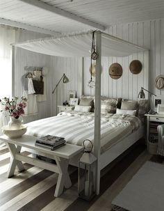 white beadboard bedroom