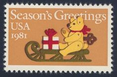 "1981_10_28 $.20 This contemporary Christmas stamp features a ""Felt Bear on Sleigh"", designed by Naiad Einsel. This stamp is non-denominated because the U.S. Postal Service was contemplating a rate change at the time of printing (from 18c to 20c; this stamp is a 20c stamp)."