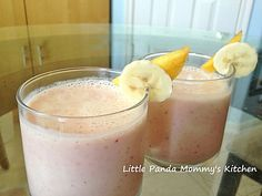 Easy breakfast Drink - Strawberries, Peach & Banana Smoothie. Add plain yogurt, 2% milk, chopped strawberries, peach and banana, then squeeze 1/2 lime juice into smoothie maker/ blender, so simple and delicious.