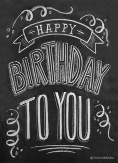 Birthday Card - Chalkboard Card - Unique Birthday Card - Chalkboard Art - Hand Lettering