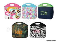 Insulated Lunch Bag Tote in 5 Pretty Prints   FREE MONOGRAMMING