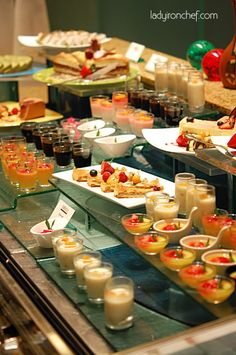 small food in shooter glasses 'shooter buffet'
