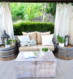 Super cute wine barrel tables.