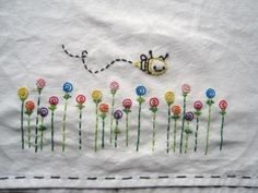 pillowcas, button flowers, bees, tea towels, kitchen towels, stitch, embroideri embroideri, dish towels, embroidery