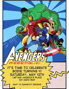 Avengers Birthday Invitation, Avengers Invitation, Superhero Invitation, Captain America, Thor, Hulk, Iron Man - Printable. $12.00, via Etsy.