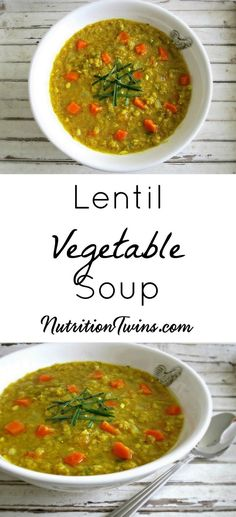 "Lentil Vegetable Soup | Satisfying, Healthy Comfort Food Recipe | Only 194 Calories | Great way to get veggies | For MORE RECIPES, fitness & nutrtition tips please SIGN UP for our FREE NEWSLETTER <a href=""http://www.NutritionTwins.com"" rel=""nofollow"" target=""_blank"">www.NutritionTwin...</a>"