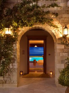 Greek villa door
