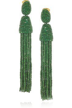 Oscar de la Renta|Beaded tassel clip earrings|NET-A-PORTER.COM