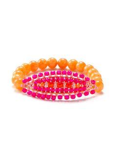 Miguel Ases Orange Jade Station Stretch Bracelet
