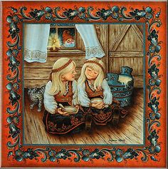 "Norwegian Tile Trivet ""Rommegrot Girls"" with recipe 6"" X 6"" Suzanne Toftey art"