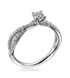 Hearts On Fire - Envelop Collection18K White Gold Twist .31ct Complete Ring