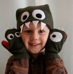 fleece monster hat and mittens