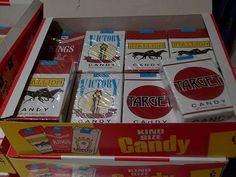 Candy Ciggarettes...Old School Lol!..when it was just normal to eat them and pretend to be smoking..THANK GOODNESS THAT HAS CHANGED