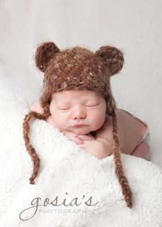 Newborn Boy Hat Bear Hat Fuzzy Beanie in Brown Photo by CozyGifts, $22.00