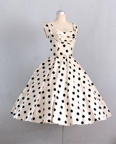 ~1950s Ceil Chapman Polka Dot Dress~