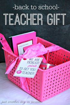 Back To School Teacher Gift Pink and Free Printable