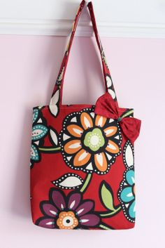 Tote Bag with Bow Red Floral