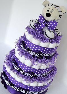 Diaper Cake - Purple & Black Zebra Baby Girl Shower Diaper Cake Centerpiece - 3 Tier. $75.00, via Etsy.
