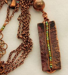 Fold Formed Wire Wrapped Copper Tablet Pendant /75