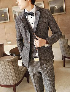 European Style Slim Fit Wool Tweed Blazer Jacket