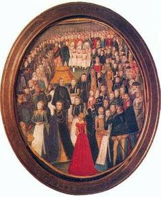 An Elizabethan Maundy, a miniature of Queen Elizabeth I observing the tradition of a Maundy Thursday with the common people. The miniature is most likely by Elizabethan female court painter Leevina Teerlinc...