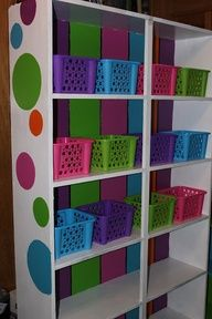 build your own classroom bookshelf- I like the bright colors they used