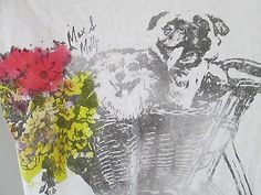 J.Crew Max and Molly art graphic tee in slub Cotton sz Medium dogs pug bicycle