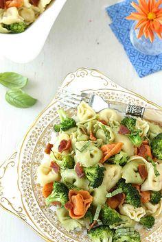 Tortellini Pasta Salad with Bacon, Broccoli  Basil Recipe | cookincanuck.com