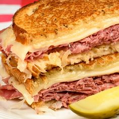 This grilled reuben sandwich recipe uses a light rye and is done either on a skillet or you could heat it in a panini maker.