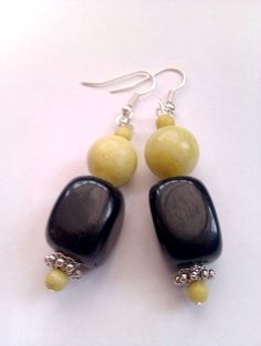 Onyx and Jade Earrings by MysticMoonShadows on Etsy, £8.00