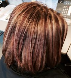 ... highlights, burgundy and blonde highlights. Love the Bob cut and color