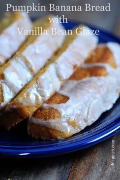 Pumpkin Banana Bread with Vanilla Bean Glaze Recipe from addapinch.com @addapinch | Robyn Stone | Robyn Stone