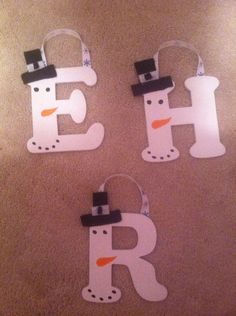 Hand painted Wooden Snowman letter Ornaments by PaintingsbyStacey, $3.00