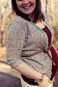 still being molly maternity style: lime jeans, leopard flats, belted leopard cardigan, oxblood tank, jean jacket