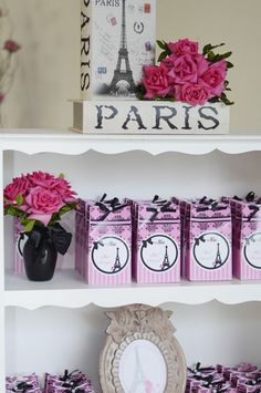 I love the pretty FAVOR BAGS at this Pink Paris Party! Found via Kara's Party Ideas   KarasPartyIdeas.com #pink #paris #party #planning #ideas #supplies #favors