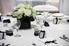 Simple, classic Black and White. Love this one and the centrepieces