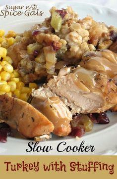 Slow Cooker Turkey with Stuffing #slowcooker @Kelly Teske Goldsworthy lampley #turkey #thanksgiving