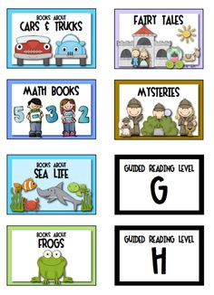 """Sample labels from """"Classroom Library Labels"""" ... 160 labels for the primary library (K-3), including topics, authors, genres, guided reading levels, and more.  LINK to product:  http://www.teacherspayteachers.com/Product/Labels-for-the-Primary-Classroom-Library-269484   $"""