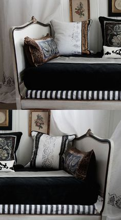Wall stencils used to stencil pillows and curtains. Bangin' in black and white by Lauren Tannenbaum http://www.royaldesignstudio.com/